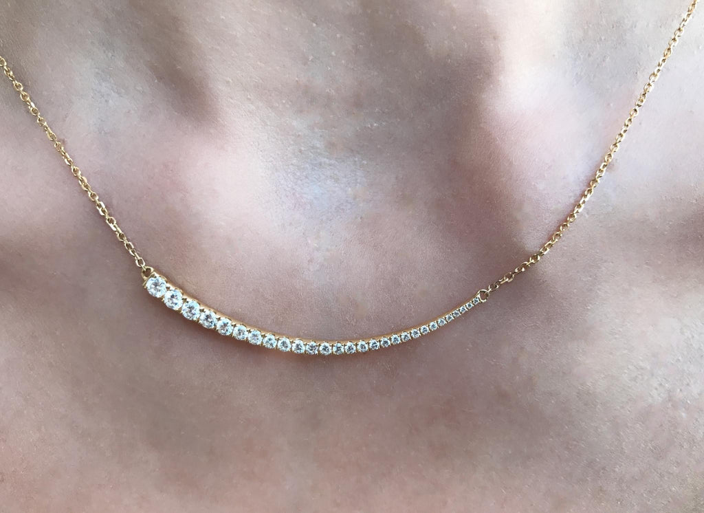 0.62cts Diamond Curved Bar Necklace / 18k Yellow Gold