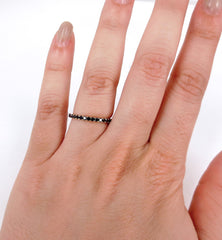 Black Diamond Eternity Band set - 18K White Gold & Black Rhodium