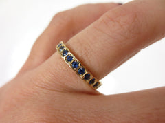 2.8mm Half-set Square Bezel Box Blue Sapphire Band - Wedding Band- Stacking
