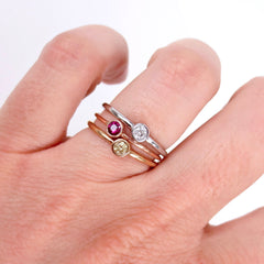 0.14 cts Bezel-Set Solitaire Ruby Ring - 18K Rose Gold