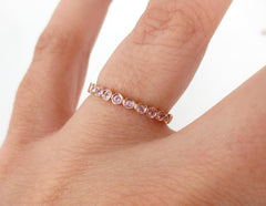 18K Rose Gold Bezel Set Round Light Pink Sapphire Eternity Band - 2.2mm