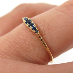Seven Stones Graduated Blue Sapphire Ring - 18K Yellow Gold