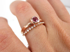 Set of 2: Solitaire Pink Tourmaline Bezel-Set Engagement Ring & Diamond Shared-Prongs Band..