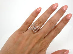Diamond Pave Butterfly 18k Rose Gold Cocktail Ring - 0.46cts T.W