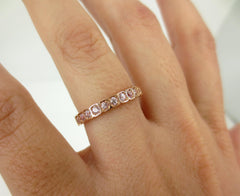 2.8mm Half-set Square Bezel Box Light Pink Sapphire Band - Wedding Band