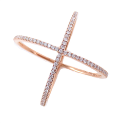 Micro Pavé Diamond Criss-Cross X Ring - 18K Rose Gold