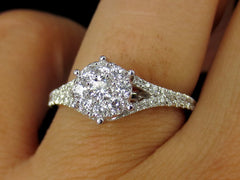 Round Brilliant Cluster Diamond Engagement Ring.