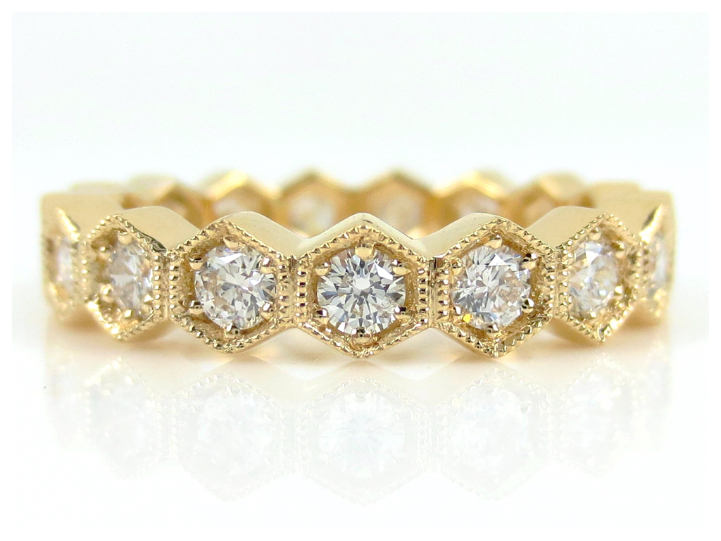 4mm Hexagon Diamond Eternity Milgrain Band - 18K Yellow Gold