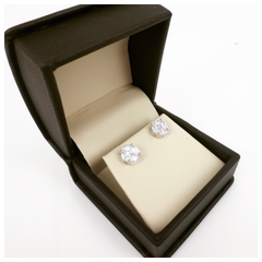7.5mm Cluster Diamond Studs - 18K Whte Gold