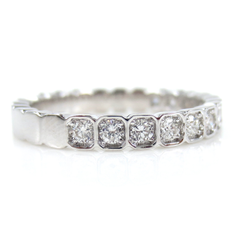 2.8mm Half-set Square Bezel Box Band round Diamonds - Wedding Band