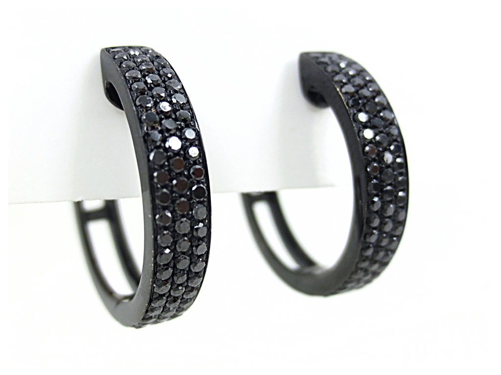 Black Diamonds Huggie Hoop Earrings - 18k Gold with Black Rhodium