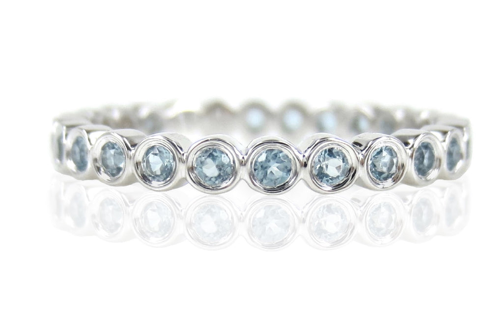 18K White Gold Sky Blue Topaz Bezel-set Eternity Band - 2.4mm