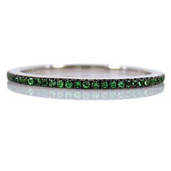 Micro Pavé Tsavorite Garnet Eternity Band-  18K White Gold