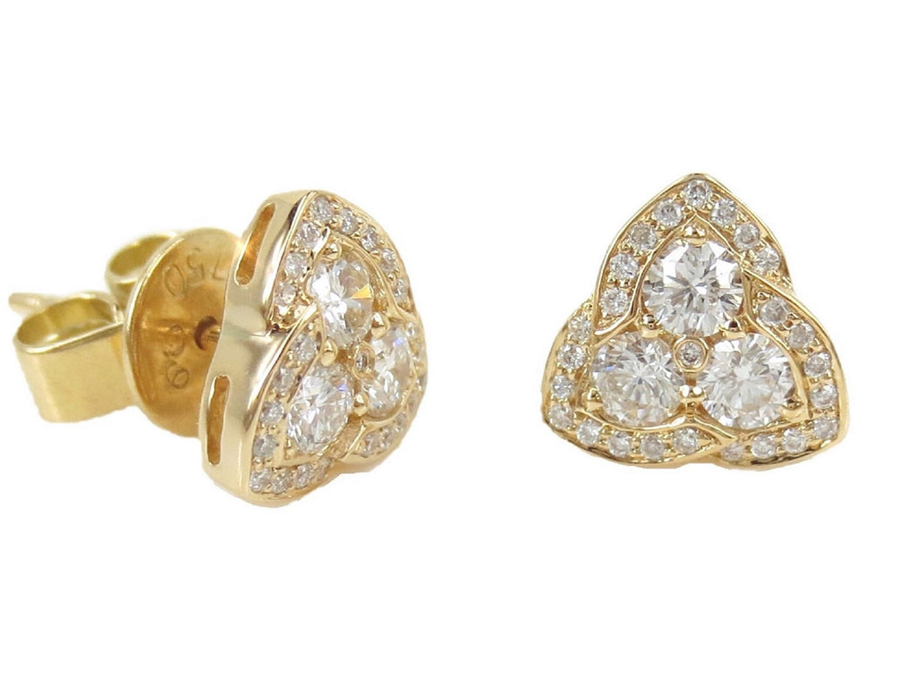 18K Yellow Gold Diamond Pyramid Stud Earrings - 8.2mm
