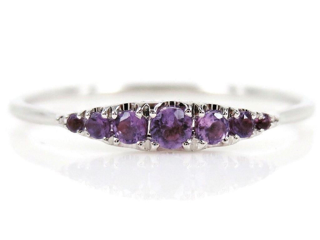 Seven Stones Graduated Amethyst Ring - 18K White Gold