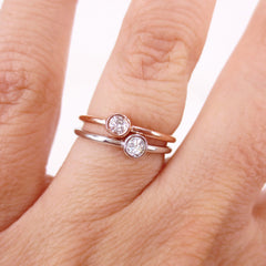 0.10 cts Bezel-Set Solitaire Diamond Ring - 14K White Gold