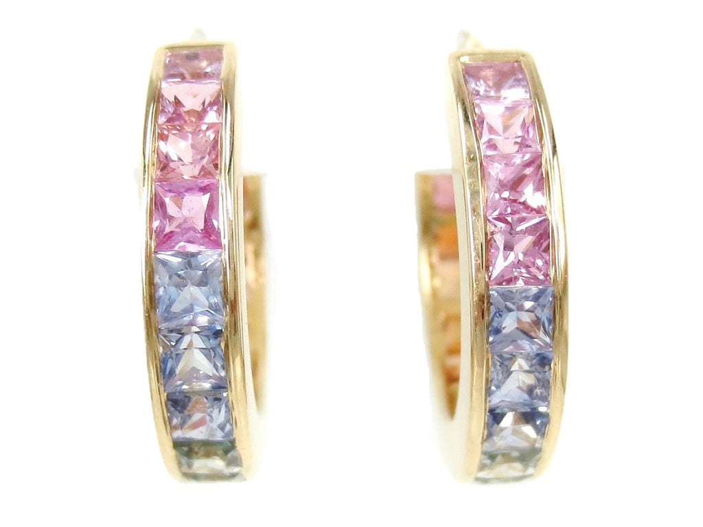 Natural Rainbow Sapphire Hoop Earrings - 18K Yellow Gold - 18mm