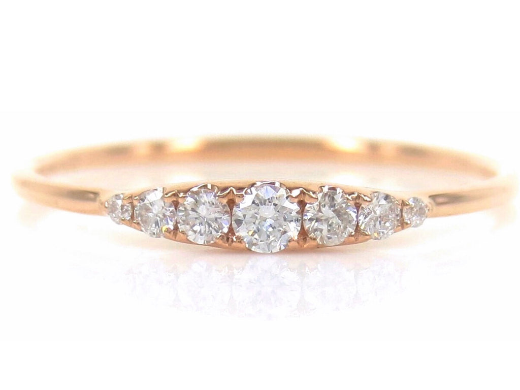 Seven Stones Graduated Round Diamond Ring - 18K Rose Gold