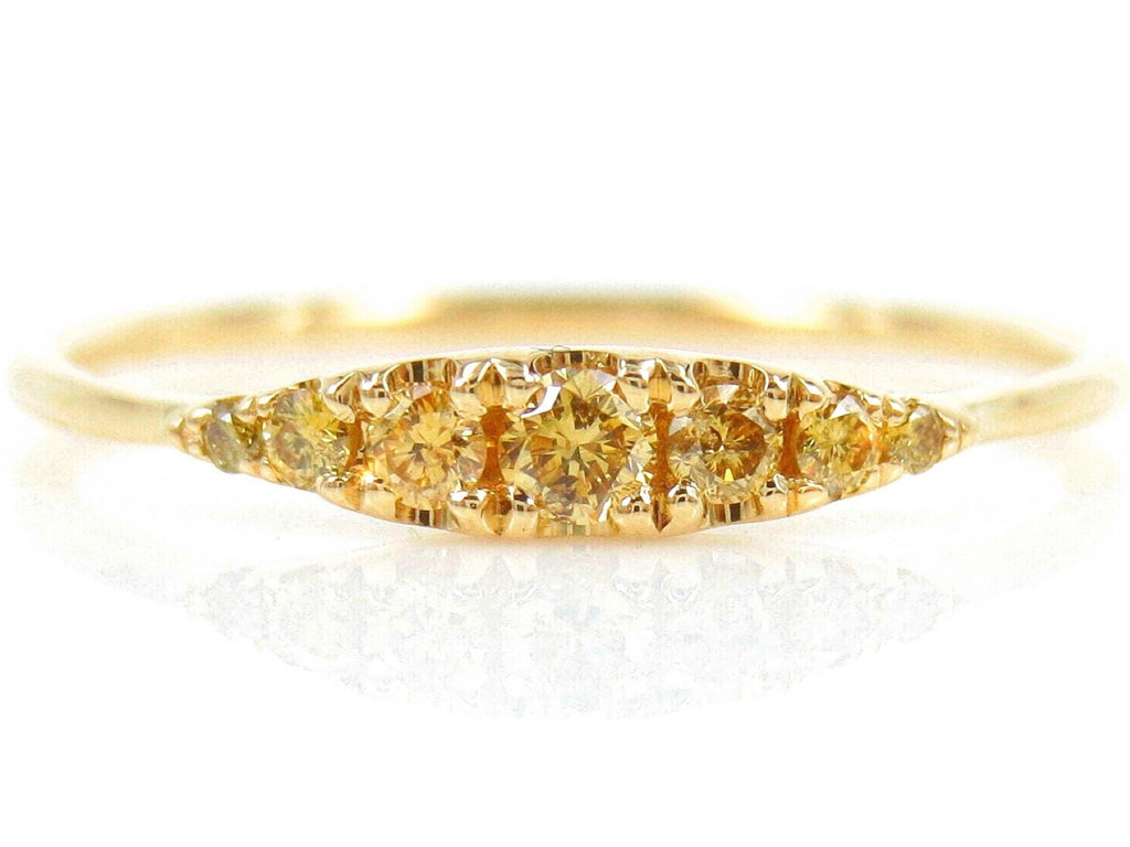 Seven Stones Graduated Natural Yellow Diamond Ring - 18K Yellow Gold