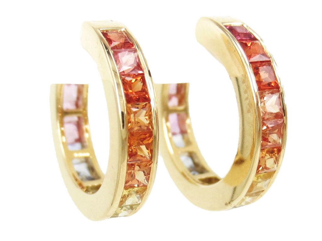 Rainbow Channel-set Natural Sapphire Hoop Earrings - 18K Yellow Gold - 18mm