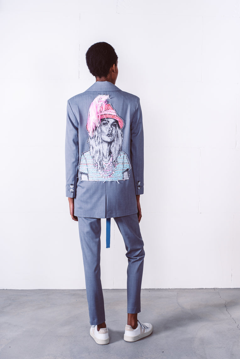 Mouse blazer grey with embroidery