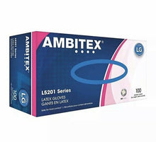Load image into Gallery viewer, AMBITEX POWDER FREE DISPOSABLE LATEX GLOVES 100CT-50 PAIRS - Florida Mask Supply