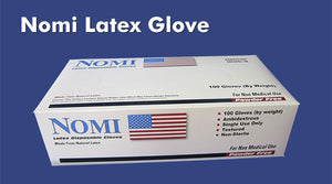 NOMI POWDER FREE DISPOSABLE LATEX GLOVES 100CT-50 PAIRS - Florida Mask Supply