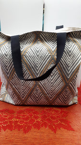 Canvas Bag Yellow & Grey Diamond