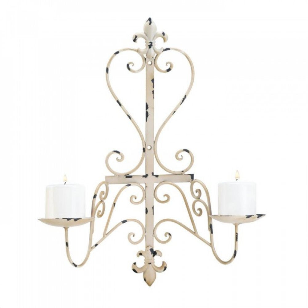 Fleur De Lis Vintage Antiqued Candle Wall Sconce