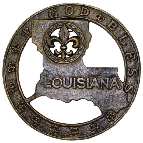 "Fleur De Lis ""God Bless Louisiana"" Cast Iron Trivet"