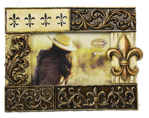 Fleur De Lis Scrolled Bronze & Ivory 4x6 Picture Frame
