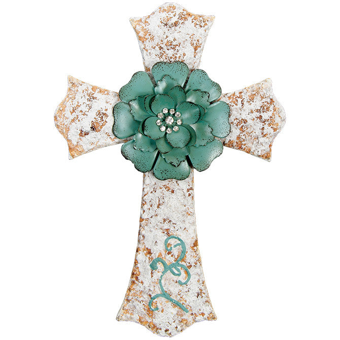 Classic Flower Vintage Turquoise & White Wall Cross