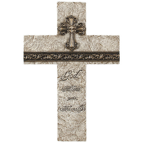 "Fleur De Lis ""12"" God Bless Our Family"" Scrolled Wall Cross"