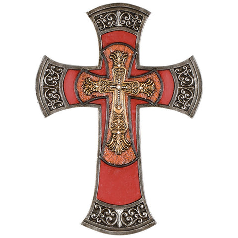"Fleur De Lis ""Red Triple"" Wall Cross"