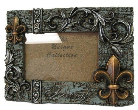 "Fleur De Lis ""FRIENDS"" Ceramic Photo Frame, 4x6"