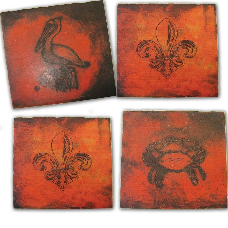 Copper Coastal Tumbled Tile Coasters, Fleur De Lis