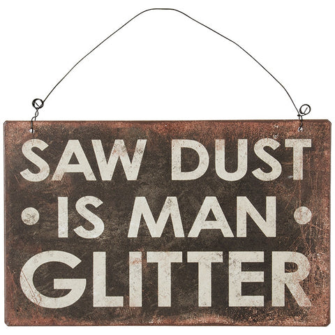 """Man Glitter"" Tin Hanging Sign"