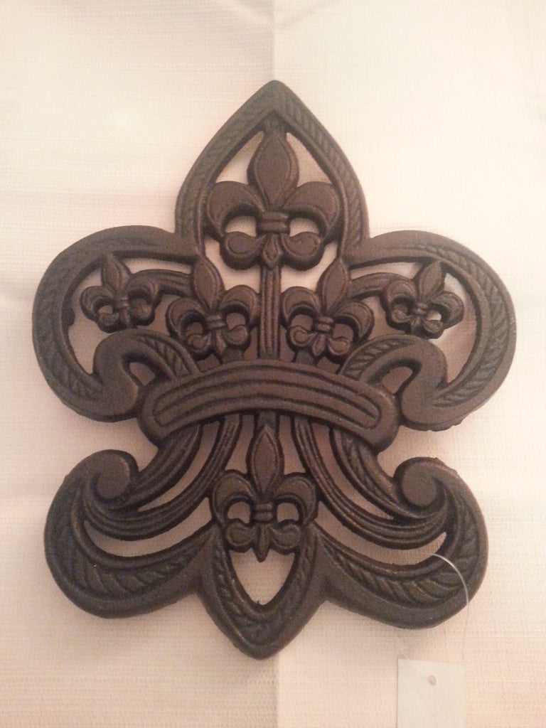 Fleur De Lis Shaped Cast Iron Trivet or Plant/Pot Stand