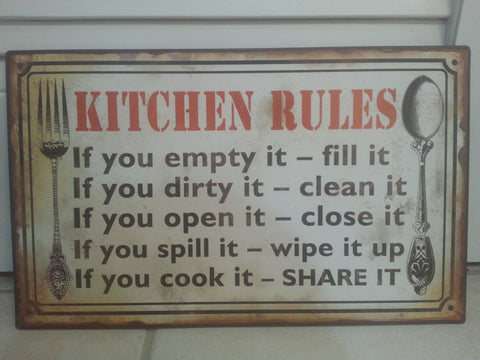 """Kitchen Rules"" Rustic Kitchen Wall Plaque"