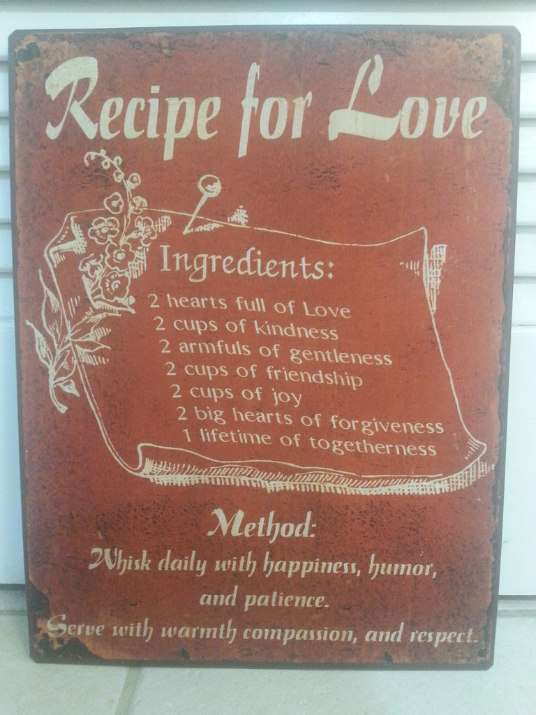 """Recipe For Love"" Metal Wall Plaque"