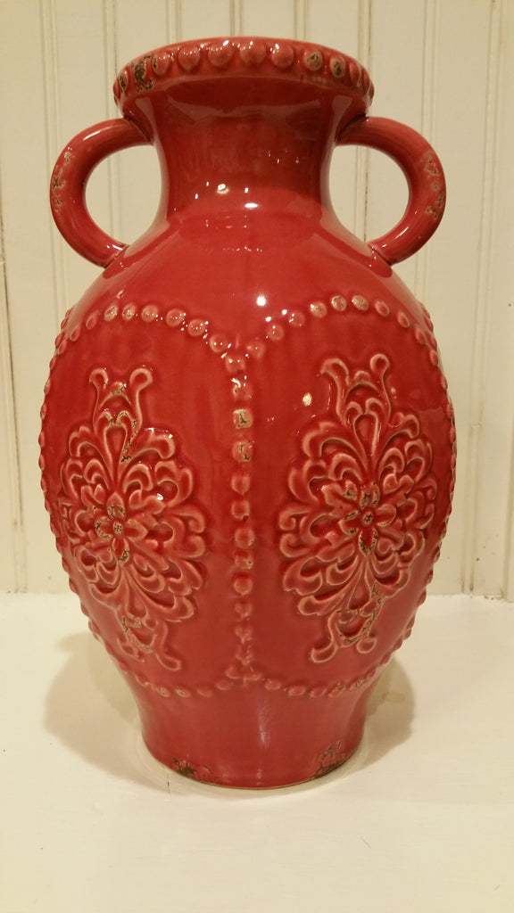 Vintaged Embossed Jug Style Vase, Red Ceramic