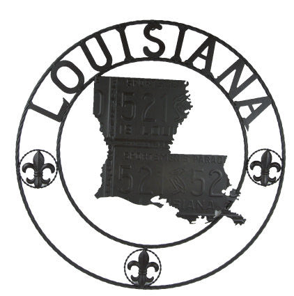 Fleur De Lis Louisiana Map Round Metal Wall Plaque