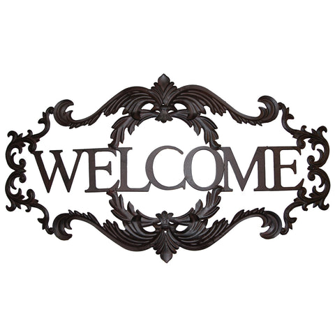 "Fleur De Lis ""WELCOME"" Large Metal Wall Plaque"