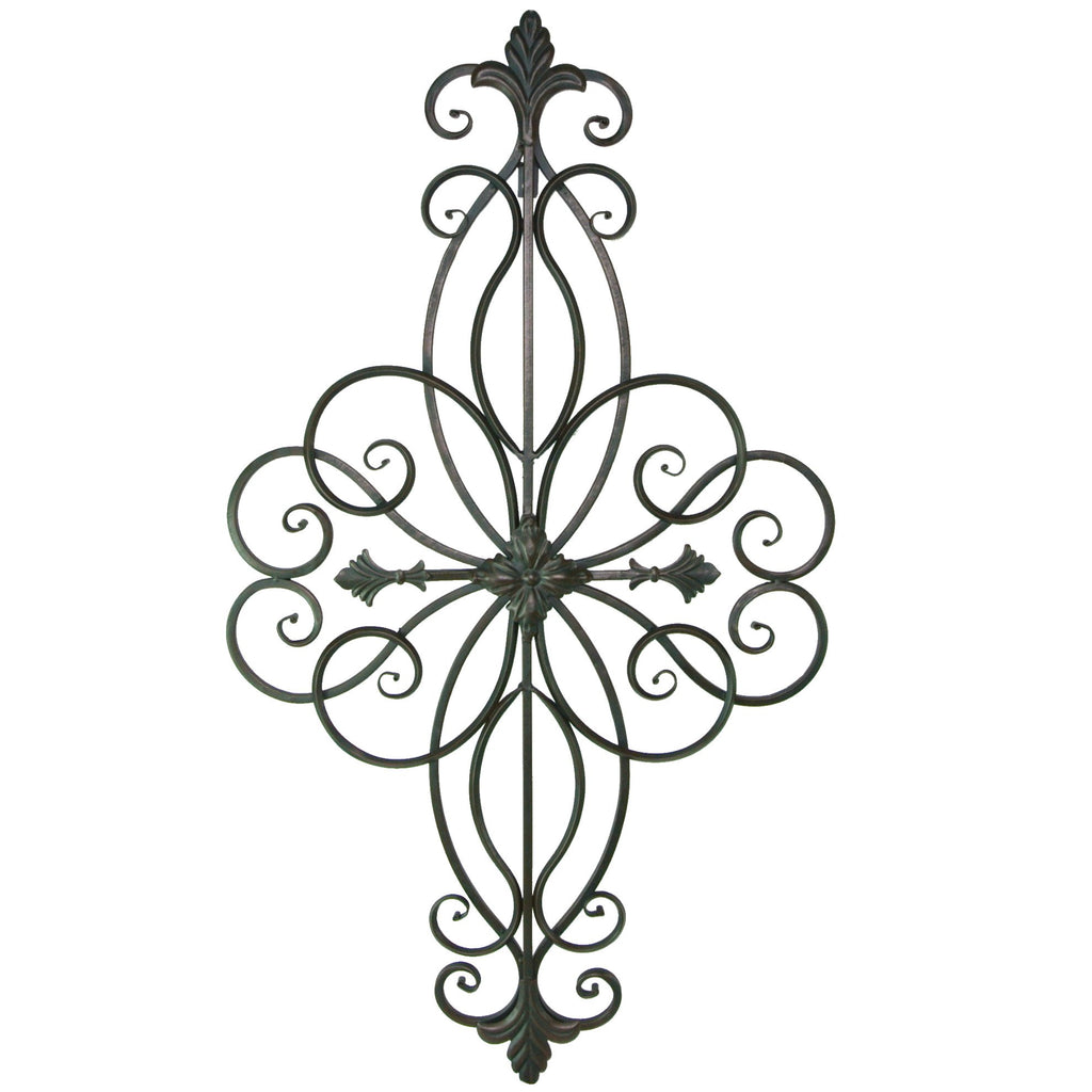 Fleur De Lis Metal Scrolled Wall Plaque, Large