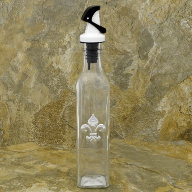 Fleur De Lis White Glass Gravity Lid Oil, Soap, Or Vinegar Bottle