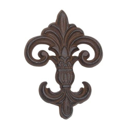 Fleur De Lis Scrolled Wall Plaque, Cast Iron