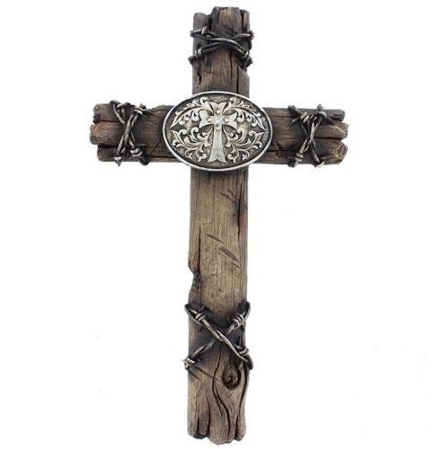 Wood Texas Themed Belt Buckle & Barbed Wire Wall Cross