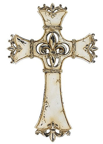 Fleur De Lis Antiqued Whitewashed Wall Cross