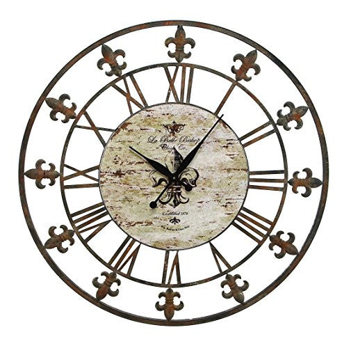 "FLeur De Lis 36"" Antique Brown Metal Wall Clock"