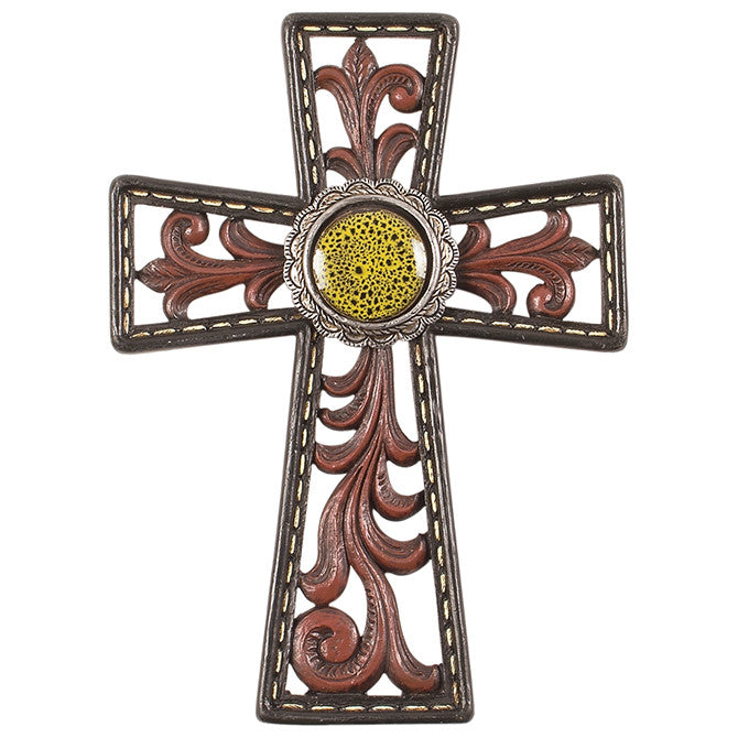 "Western Crosses ""7"" Yellow Spotted Medallion"" Wall Cross"